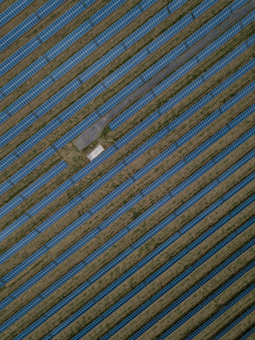 Aerial shot of a solar power field