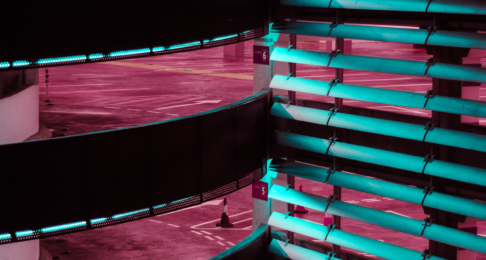 Multi-storey car park illuminated at night