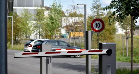 Car park barrier entry to a quiet office car park