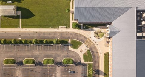 Aerial view of an empty school parking lot