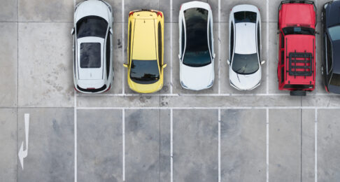 Birds Eye View Cars Parked