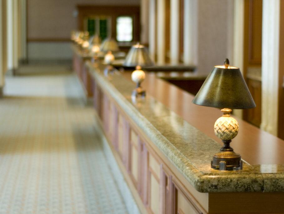 Empty hotel reception