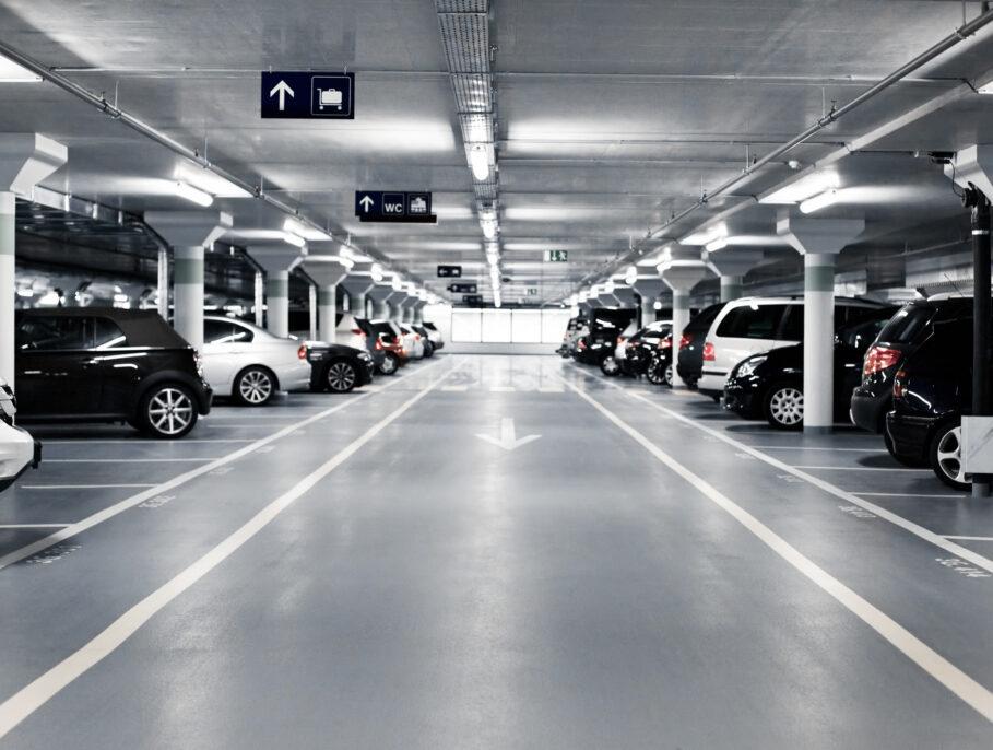 Well lit indoor car park