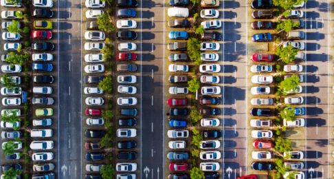 A packed car park viewed from above