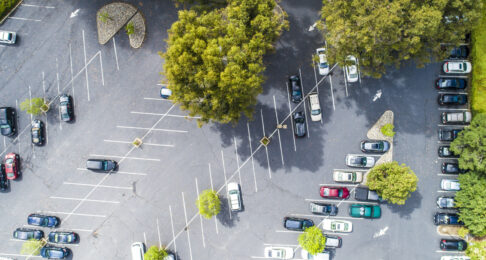 Aerial view of parking area.