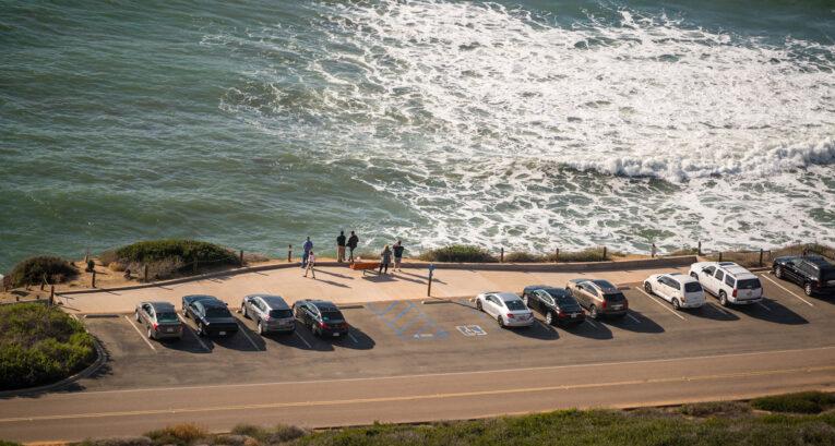 Abersoch Golf Club car park on the coastline