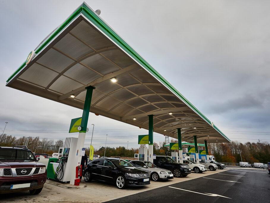 Motorway service station petrol pumps