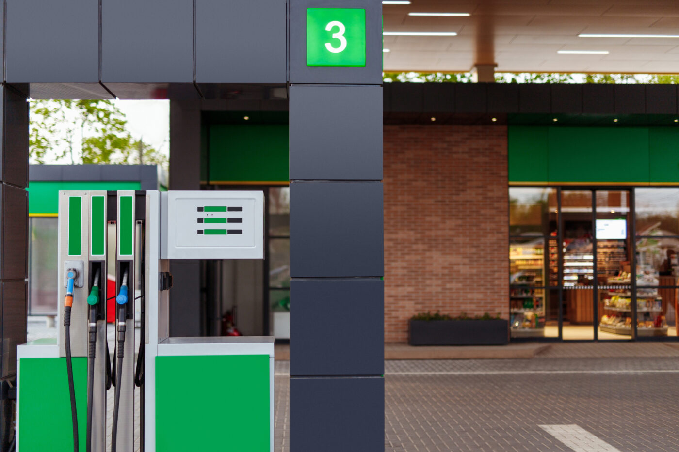 Motorway service station petrol pump