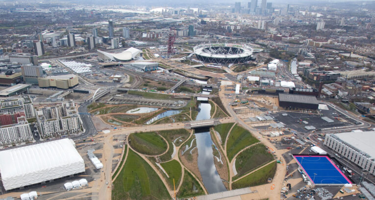 Aerial view of the london velodrome and olympic park