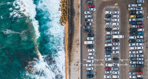 A busy coastal car park