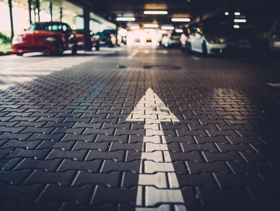 One way arrow on a car park floor